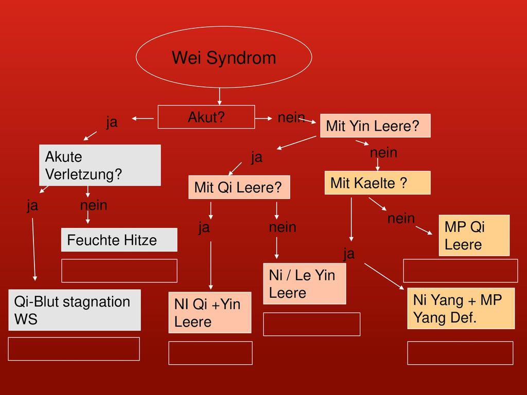 Wei Syndrom Akut nein ja Mit Yin Leere nein Akute Verletzung ja