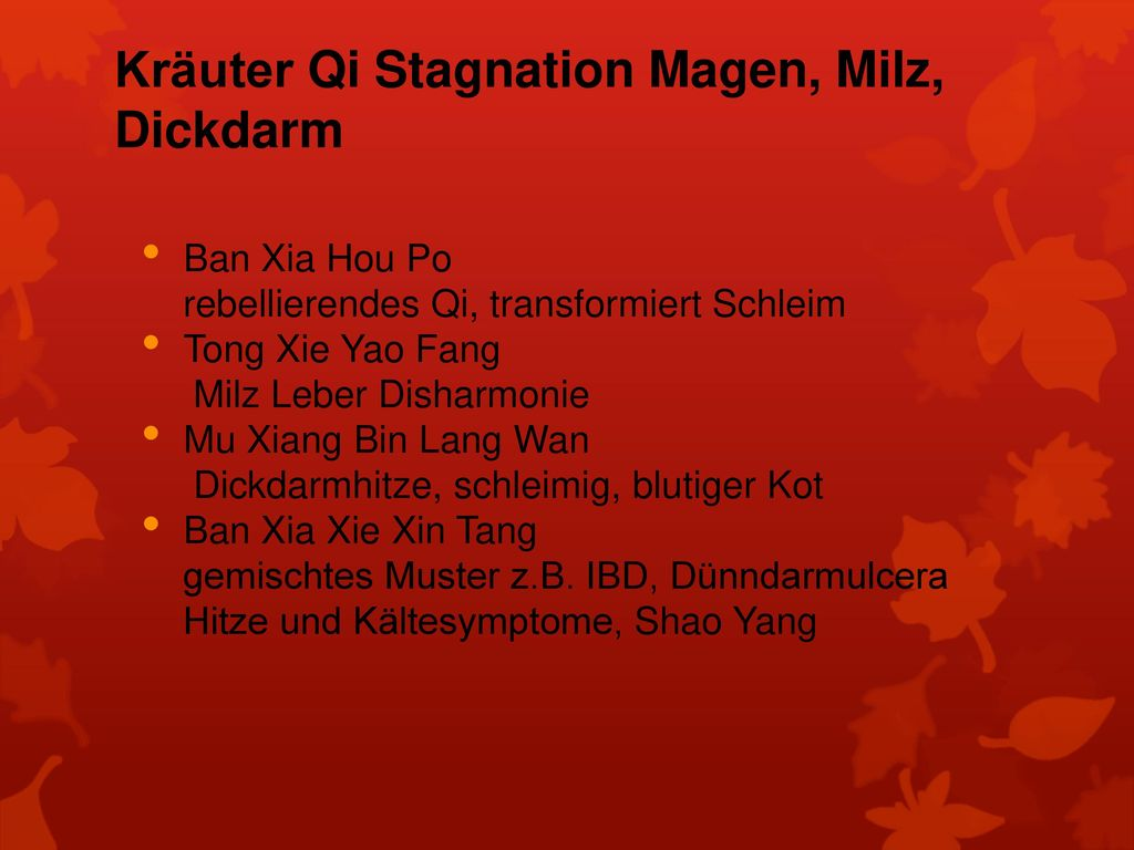 Kräuter Qi Stagnation Magen, Milz, Dickdarm
