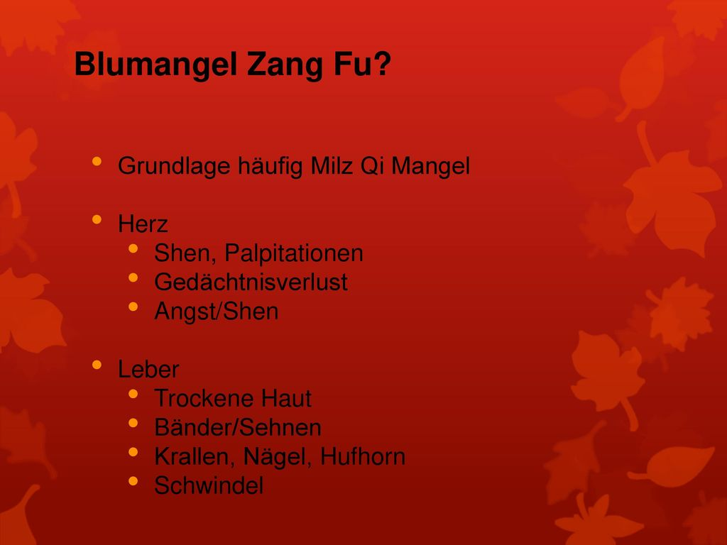 Blumangel Zang Fu Grundlage häufig Milz Qi Mangel Herz