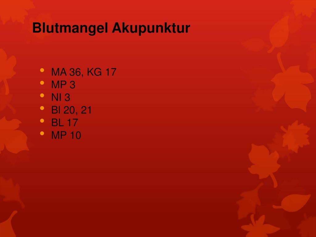 Blutmangel Akupunktur