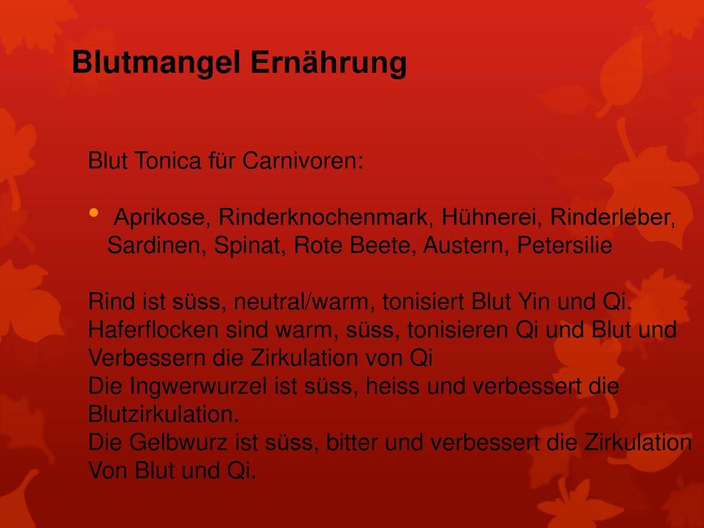Blutmangel Ernährung Blut Tonica für Carnivoren: