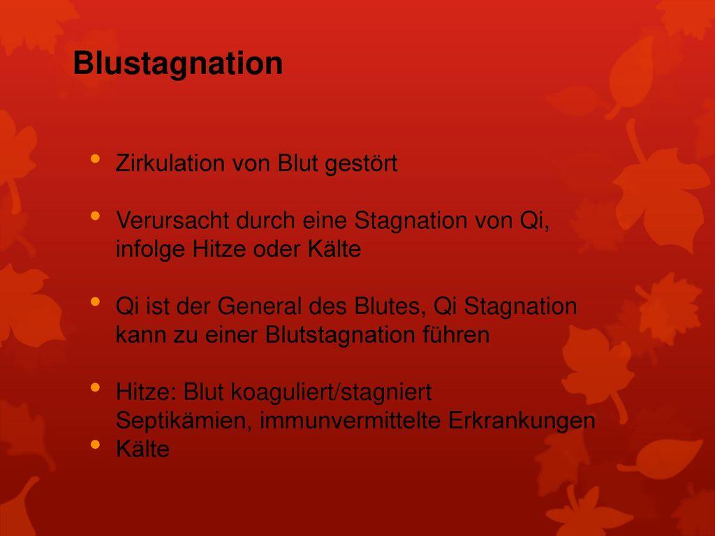 Blustagnation Zirkulation von Blut gestört
