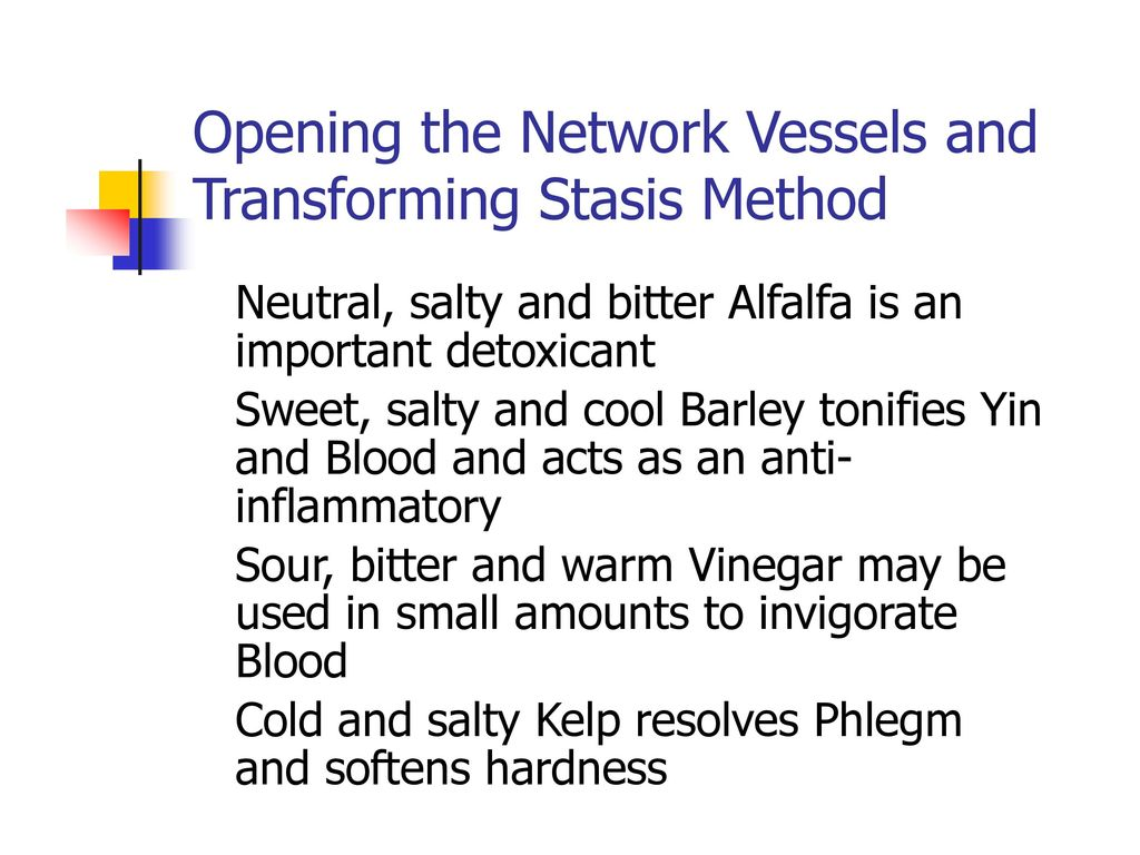 Opening the Network Vessels and Transforming Stasis Method