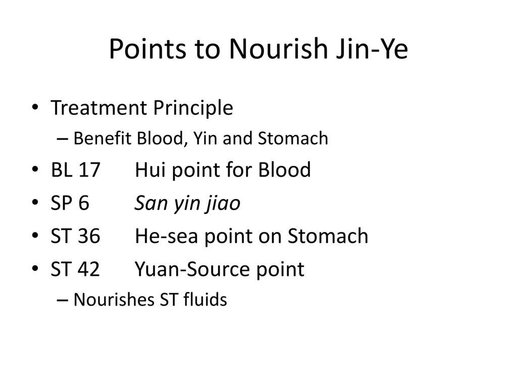 Points to Nourish Jin-Ye
