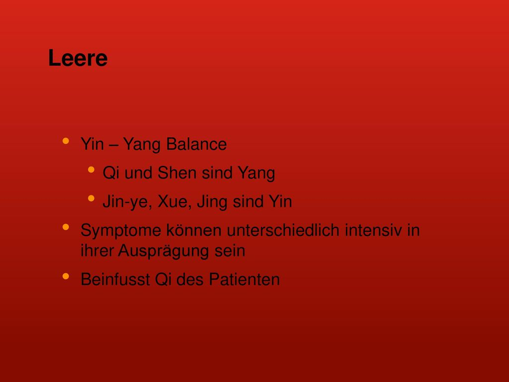 Leere Yin – Yang Balance Qi und Shen sind Yang
