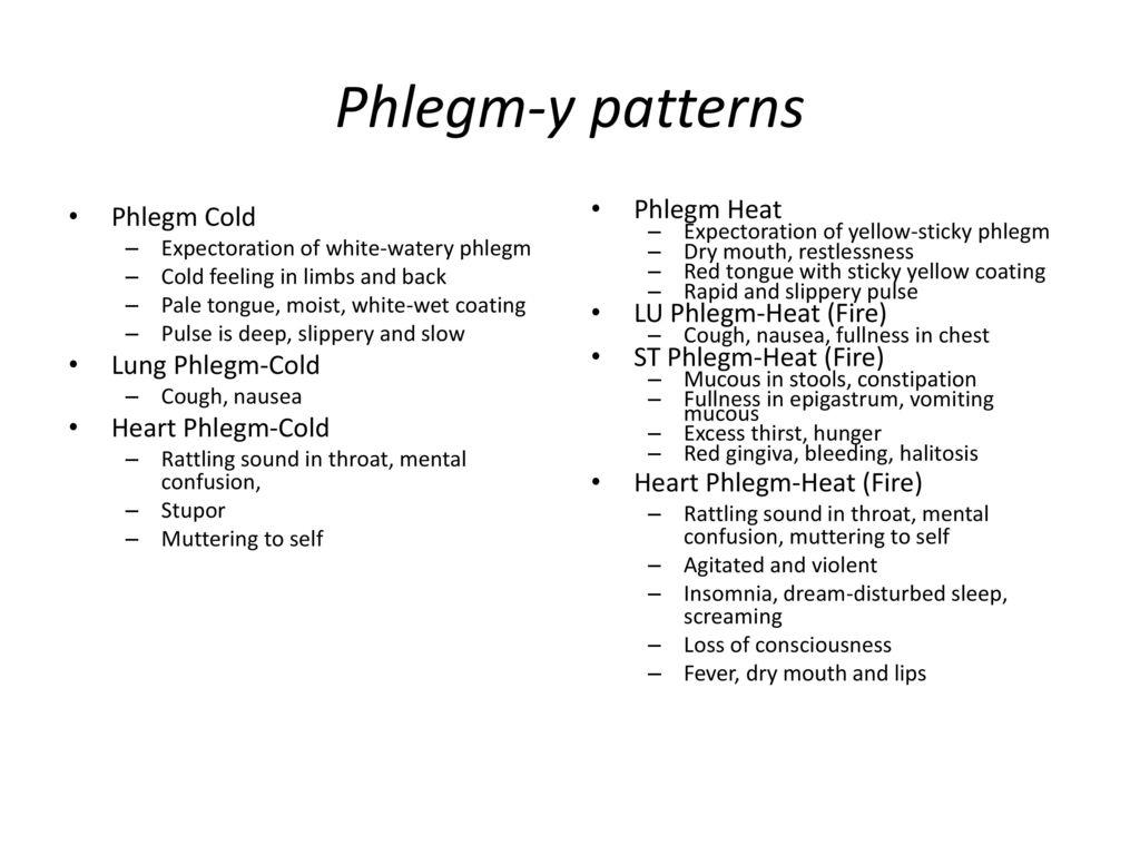 Phlegm-y patterns Phlegm Cold Lung Phlegm-Cold Heart Phlegm-Cold