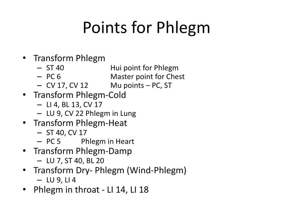 Points for Phlegm Transform Phlegm Transform Phlegm-Cold