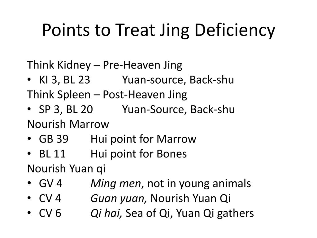 Points to Treat Jing Deficiency