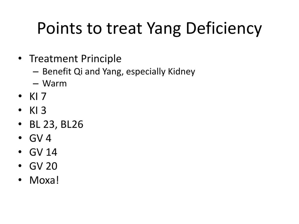 Points to treat Yang Deficiency