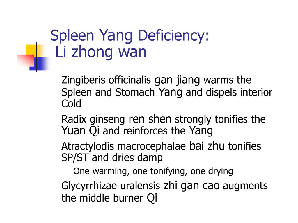 Li zhong wan Spleen Yang Deficiency: Yuan Qi and reinforces the Yang