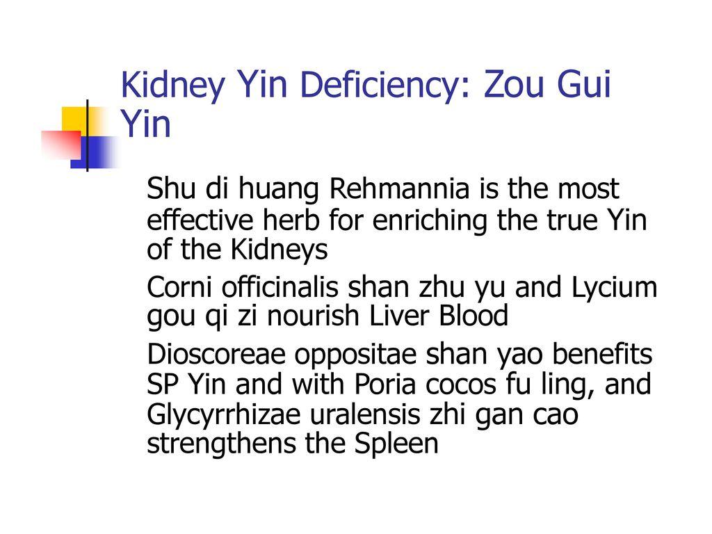 Yin Kidney Yin Deficiency: Zou Gui Shu di huang Rehmannia is the most
