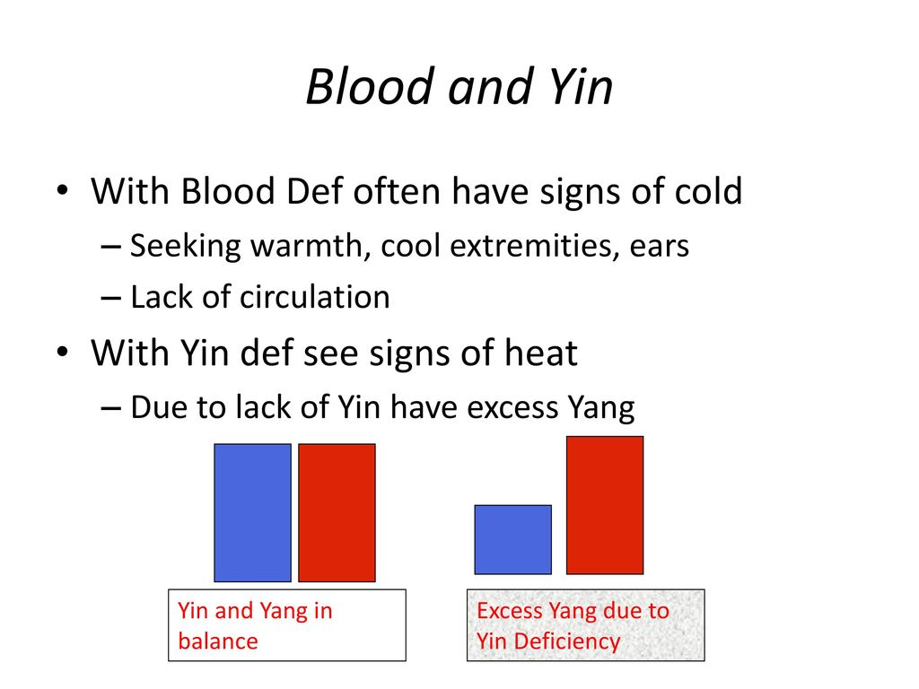 Blood and Yin With Blood Def often have signs of cold