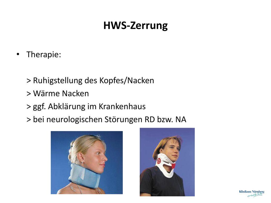 HWS-Zerrung Therapie: > Ruhigstellung des Kopfes/Nacken