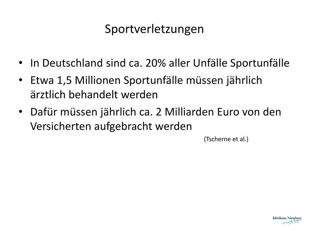 Sportverletzungen In Deutschland sind ca. 20% aller Unfälle Sportunfälle. Etwa 1,5 Millionen Sportunfälle müssen jährlich ärztlich behandelt werden.