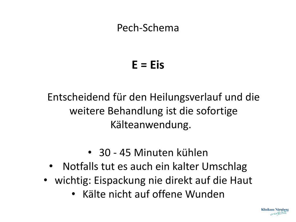 E = Eis Pech-Schema 30 - 45 Minuten kühlen