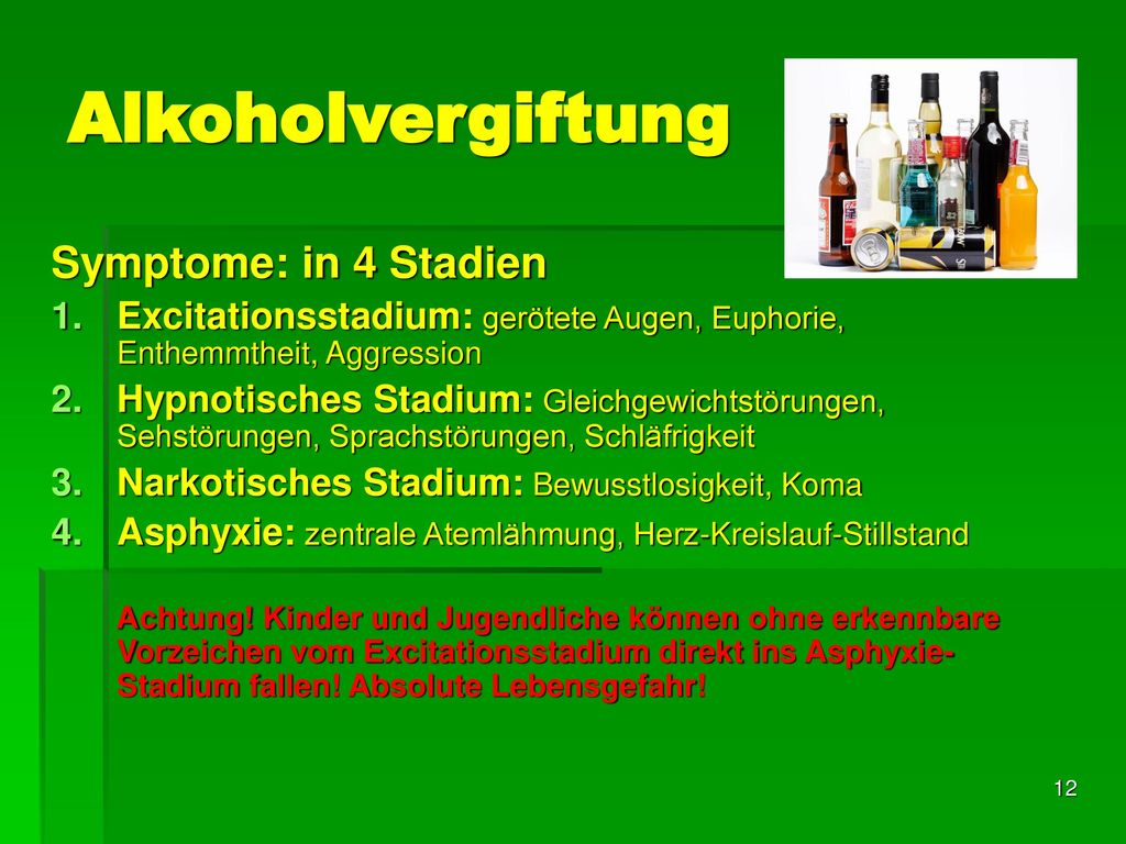 Alkoholvergiftung Symptome: in 4 Stadien