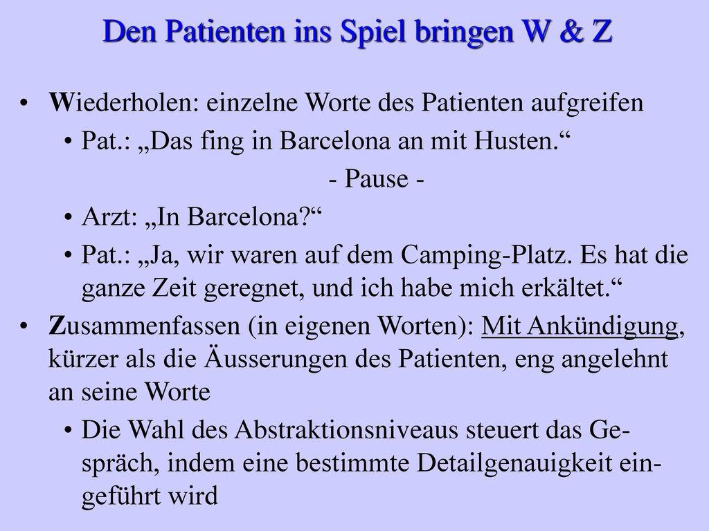 Den Patienten ins Spiel bringen W & Z