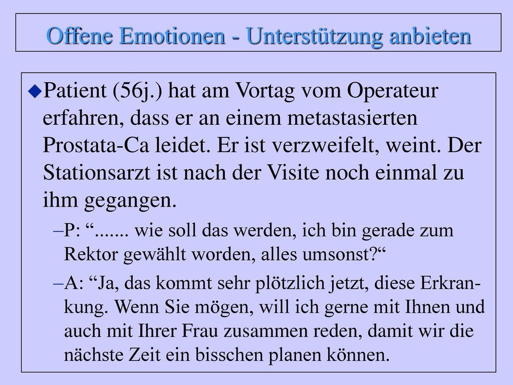 Offene Emotionen - Unterstützung anbieten