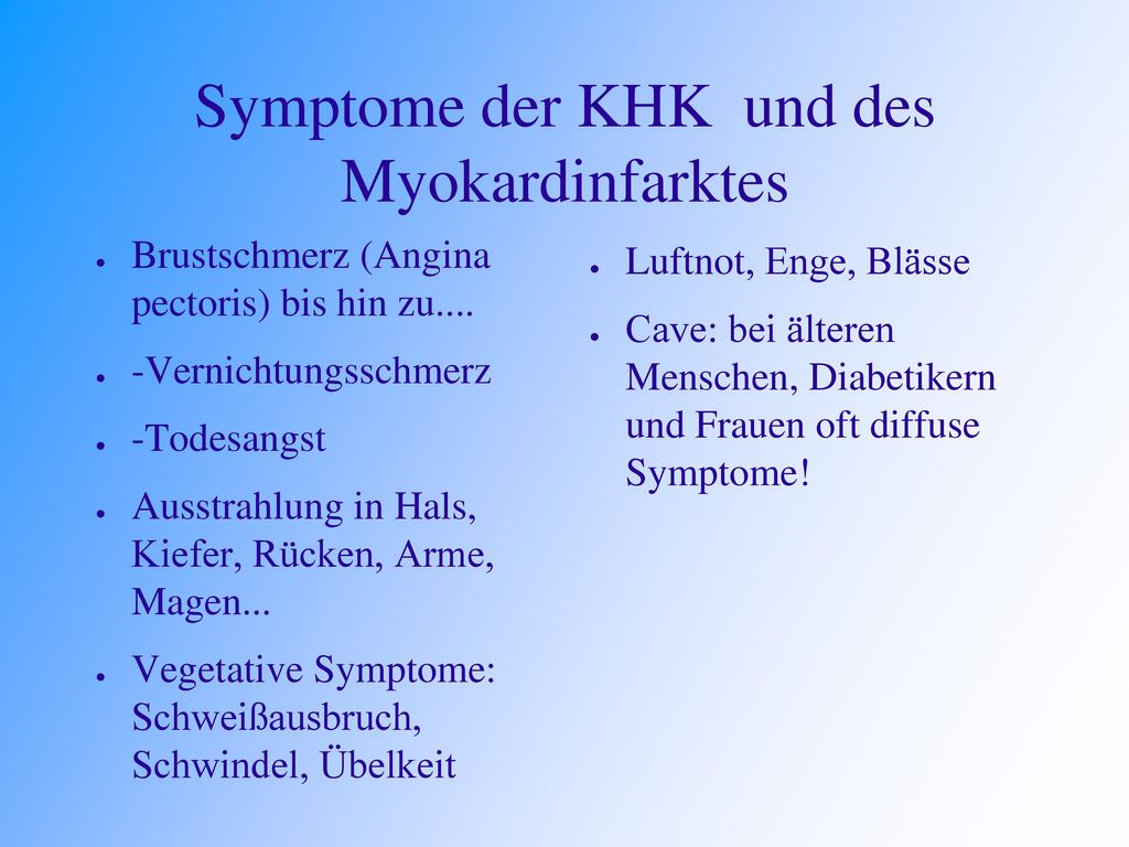 Symptome der KHK und des Myokardinfarktes