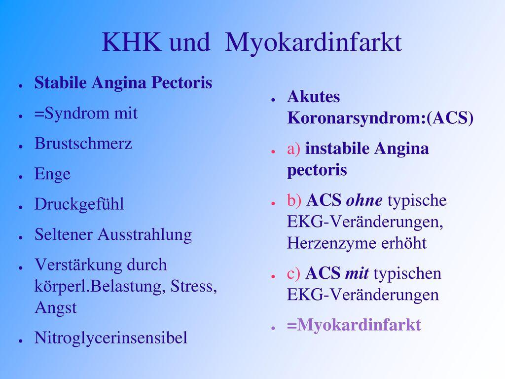 KHK und Myokardinfarkt