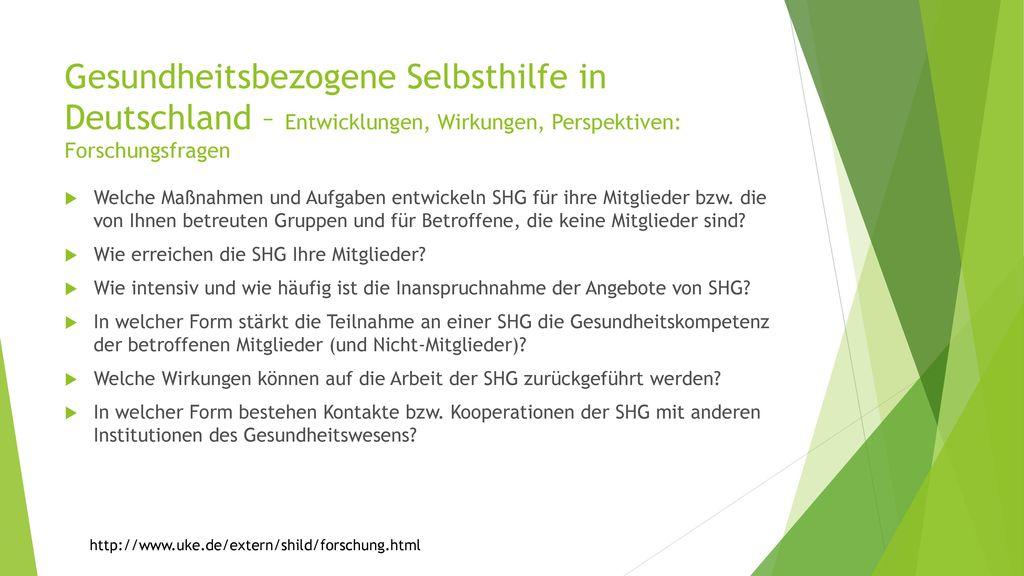 Gesundheitsbezogene Selbsthilfe in Deutschland – Entwicklungen, Wirkungen, Perspektiven: Forschungsfragen