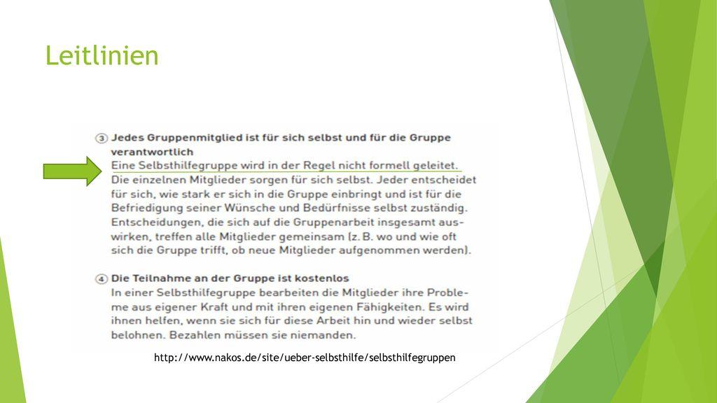 Leitlinien http://www.nakos.de/site/ueber-selbsthilfe/selbsthilfegruppen