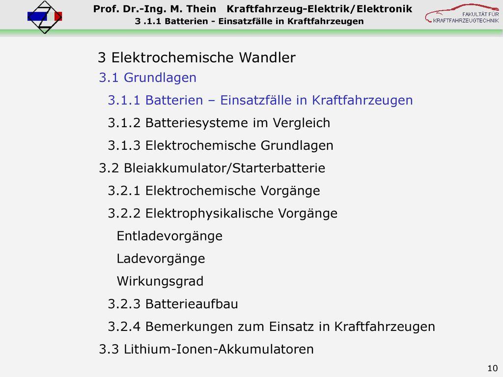 3 .1.1 Batterien - Einsatzfälle in Kraftfahrzeugen