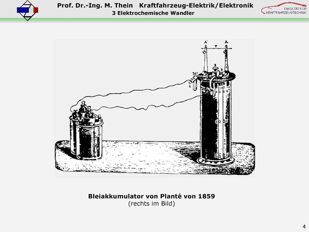 3 Elektrochemische Wandler Bleiakkumulator von Planté von 1859
