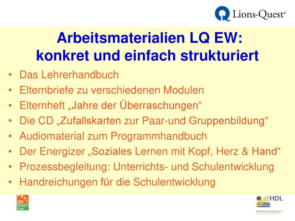 Arbeitsmaterialien LQ EW: konkret und einfach strukturiert