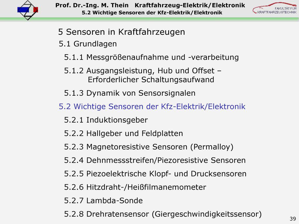 5.2 Wichtige Sensoren der Kfz-Elektrik/Elektronik