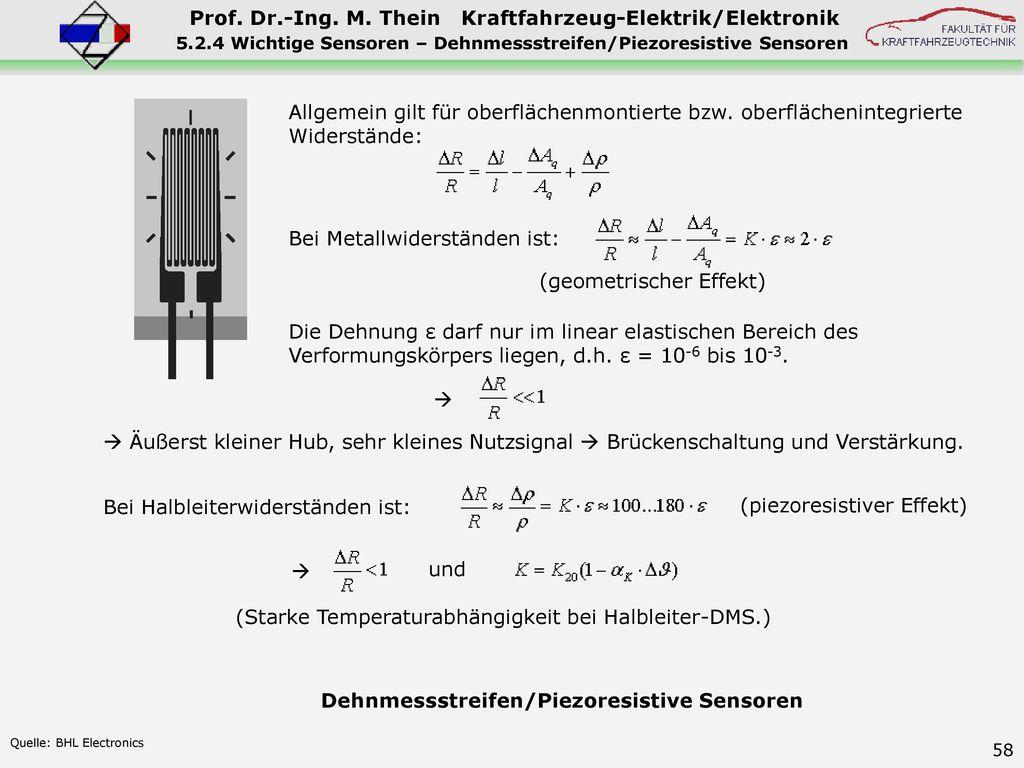 5.2.4 Wichtige Sensoren – Dehnmessstreifen/Piezoresistive Sensoren