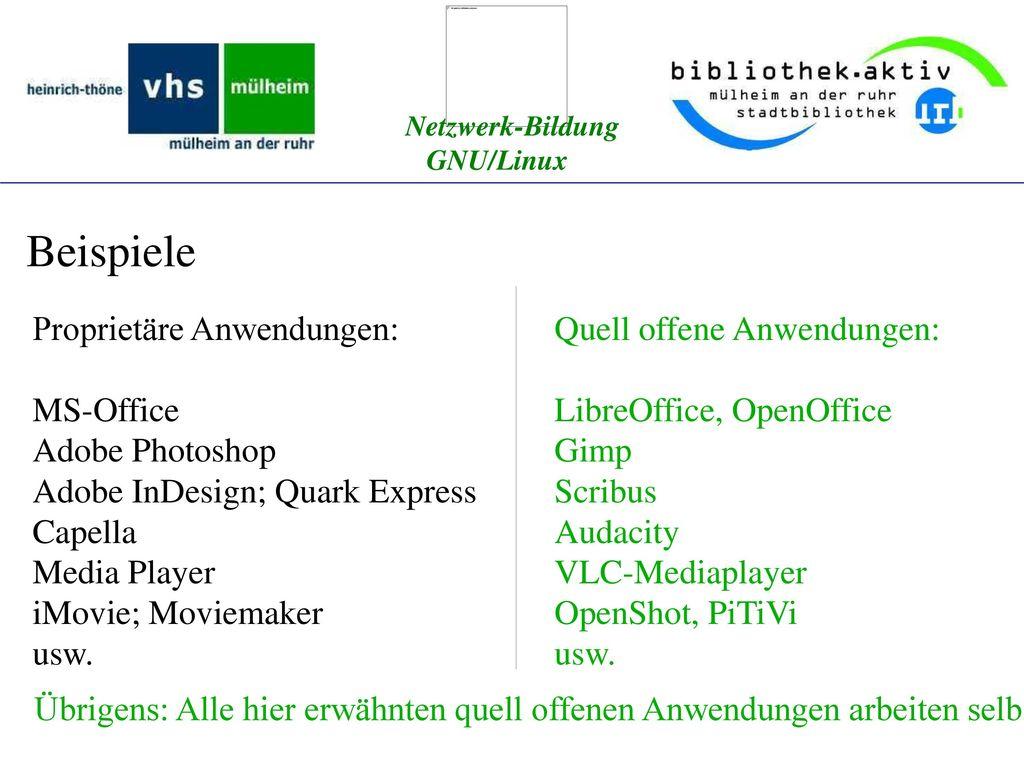 Beispiele Proprietäre Anwendungen: MS-Office Adobe Photoshop