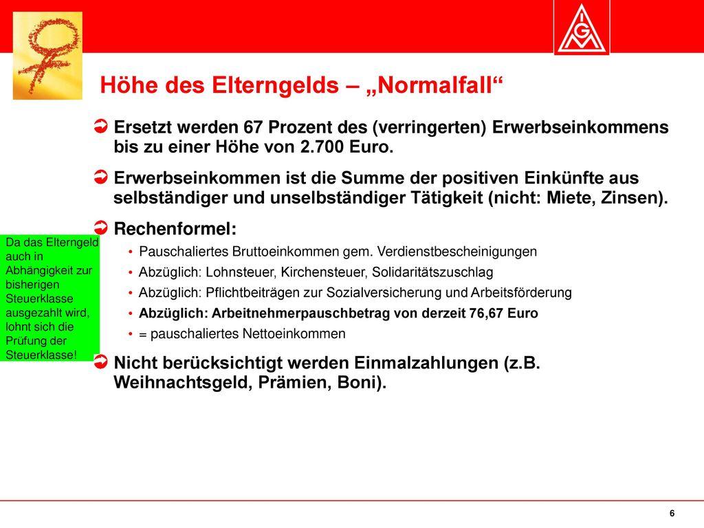 """Höhe des Elterngelds – """"Normalfall"""