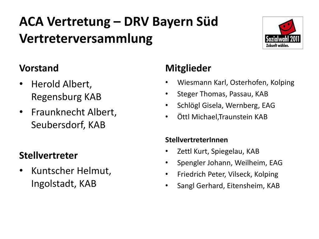 ACA Vertretung – DRV Bayern Süd Vertreterversammlung