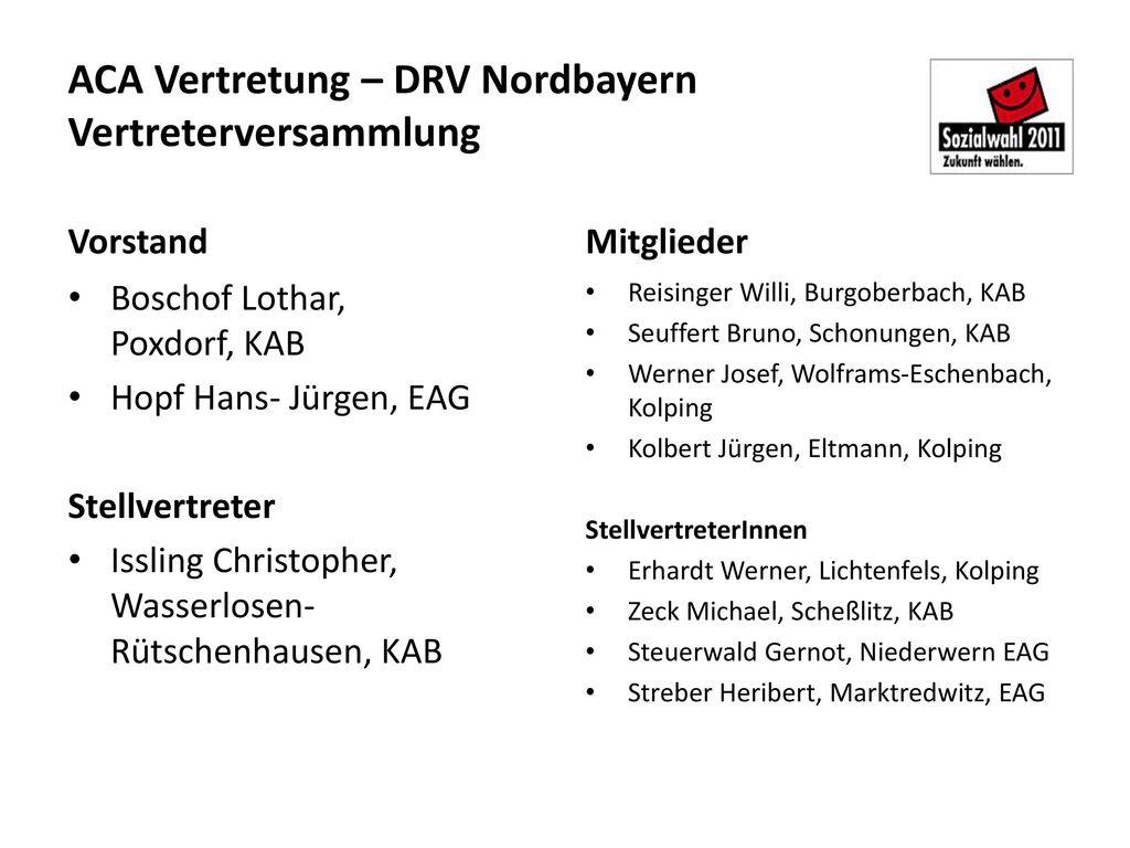 ACA Vertretung – DRV Nordbayern Vertreterversammlung