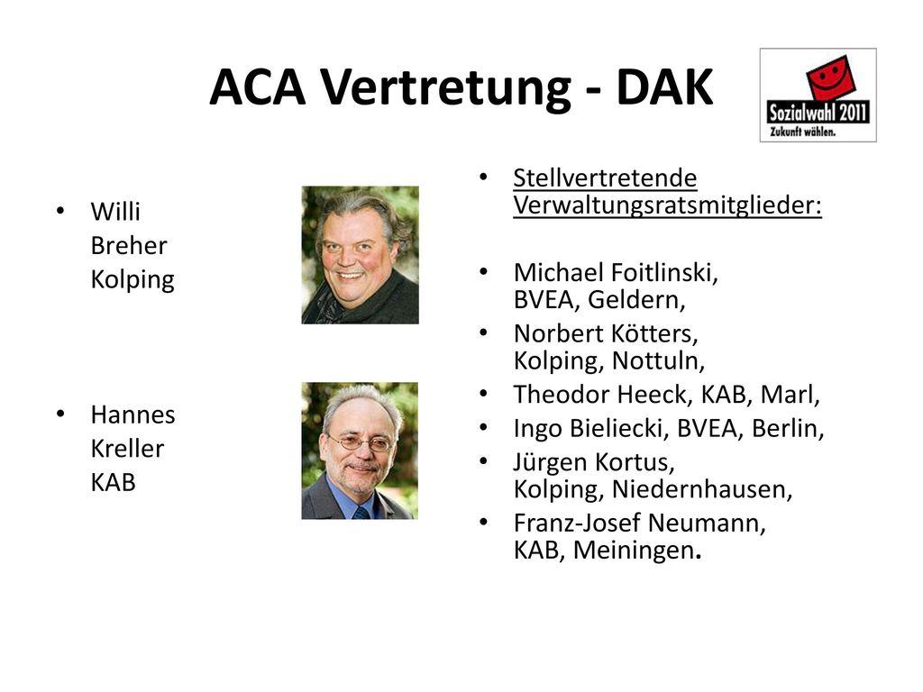 ACA Vertretung - DAK Stellvertretende Verwaltungsratsmitglieder: Willi