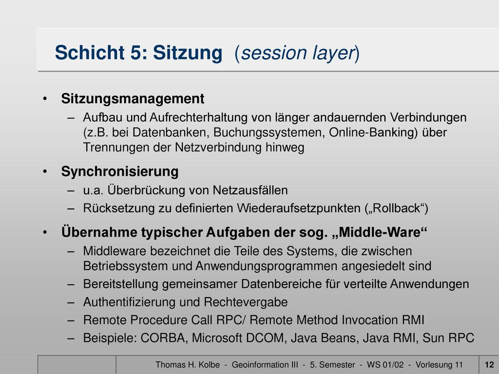 Schicht 5: Sitzung (session layer)