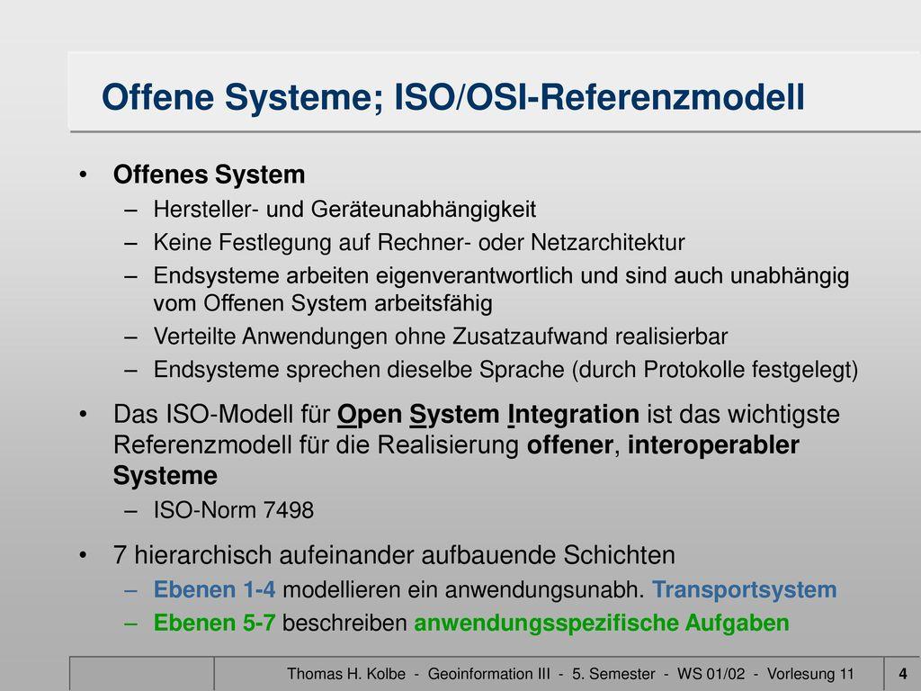 Offene Systeme; ISO/OSI-Referenzmodell