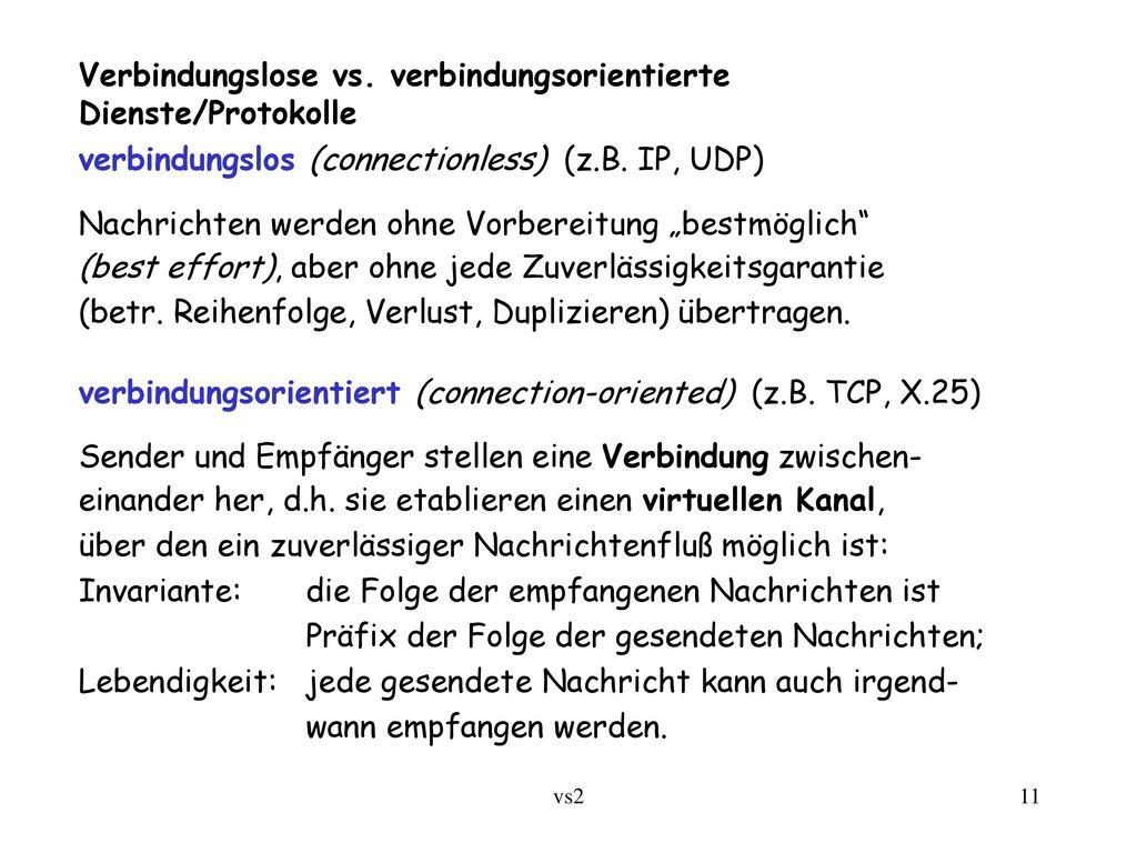 Verbindungslose vs. verbindungsorientierte Dienste/Protokolle