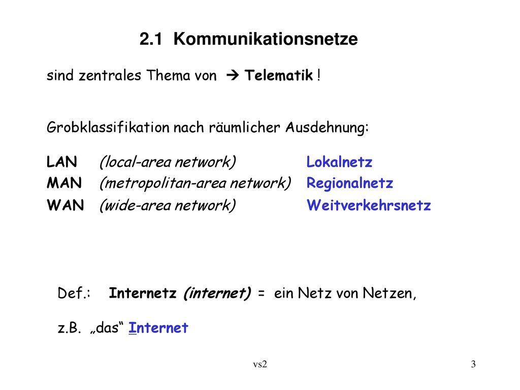 2.1 Kommunikationsnetze sind zentrales Thema von  Telematik !