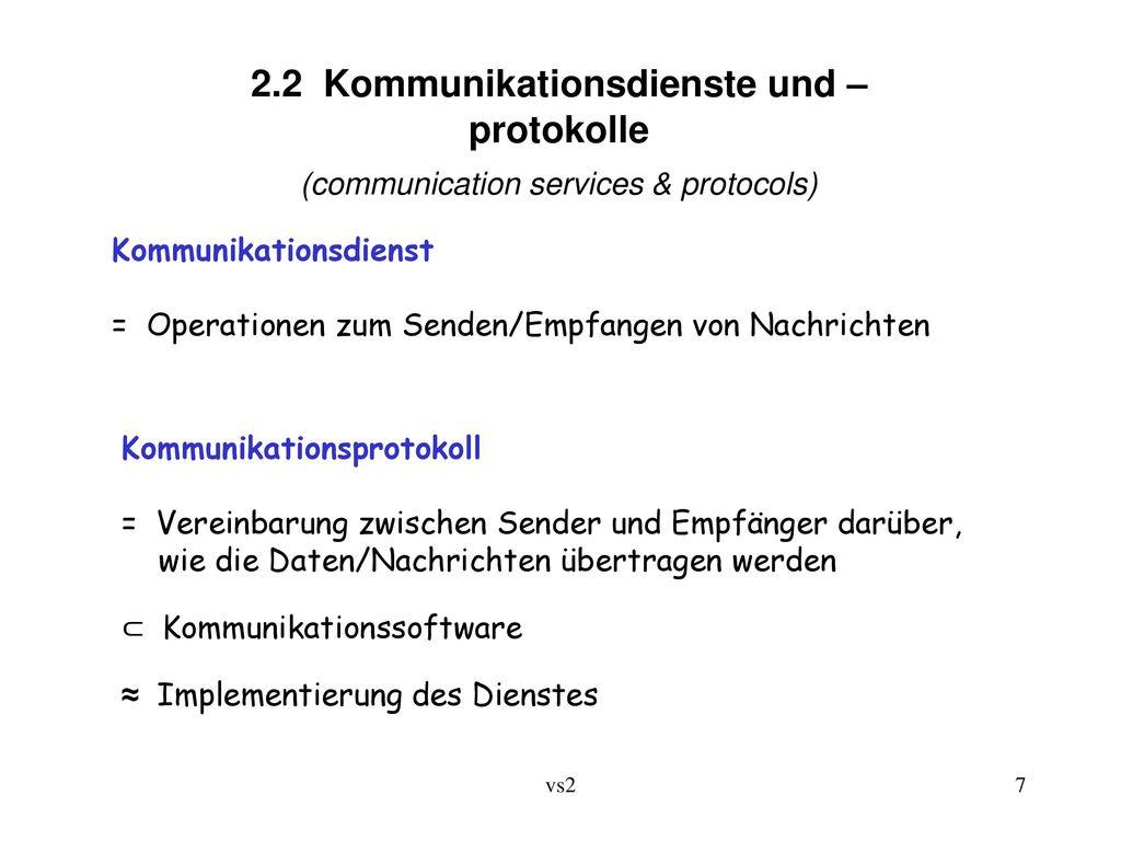2.2 Kommunikationsdienste und –protokolle