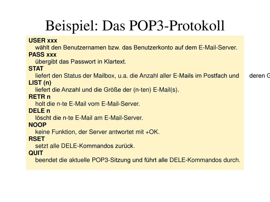 Beispiel: Das POP3-Protokoll