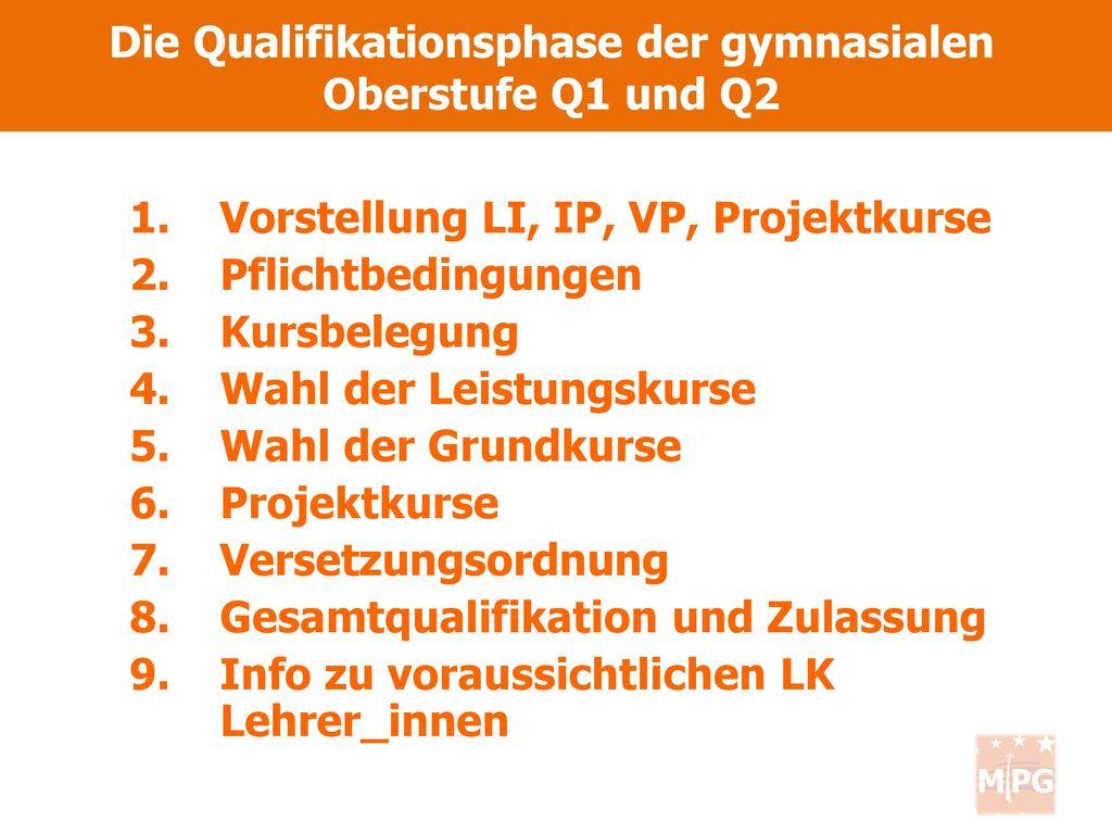 Die Qualifikationsphase der gymnasialen Oberstufe Q1 und Q2