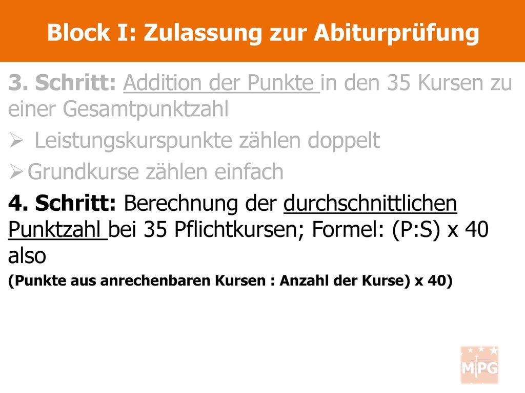 Block I: Zulassung zur Abiturprüfung