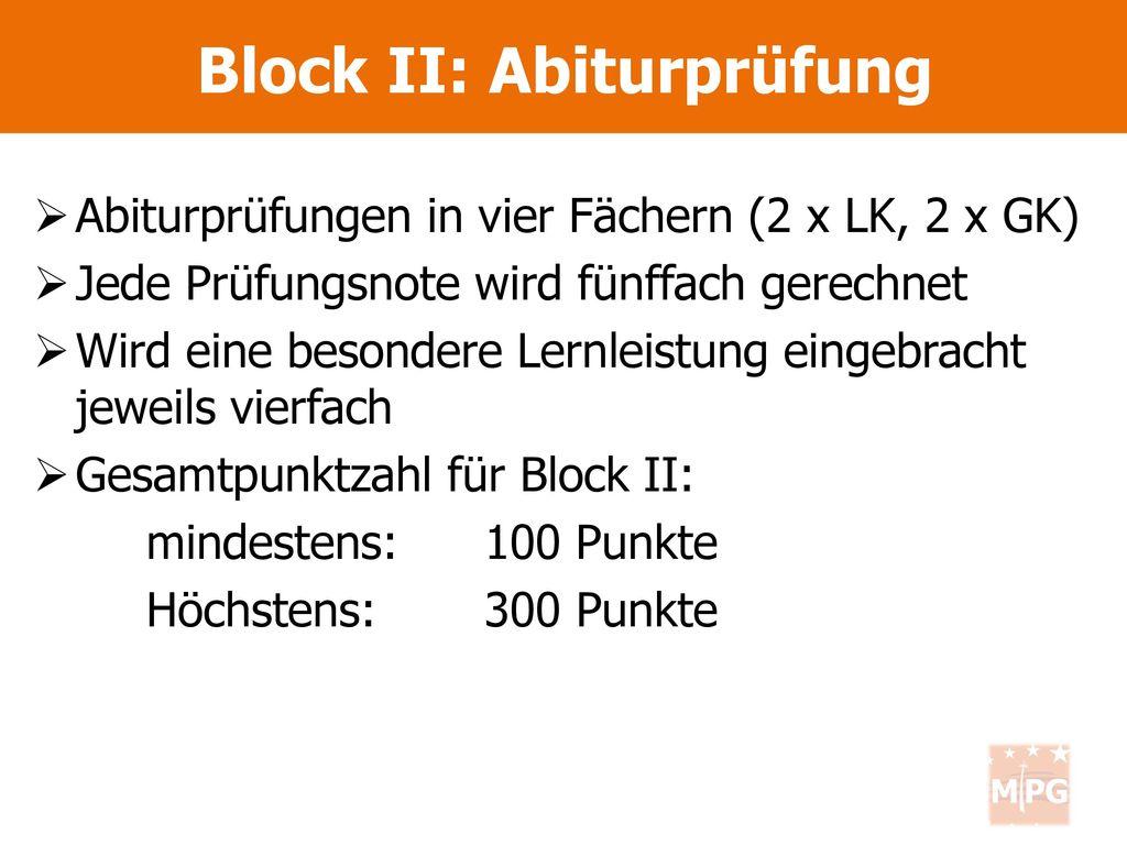 Block II: Abiturprüfung
