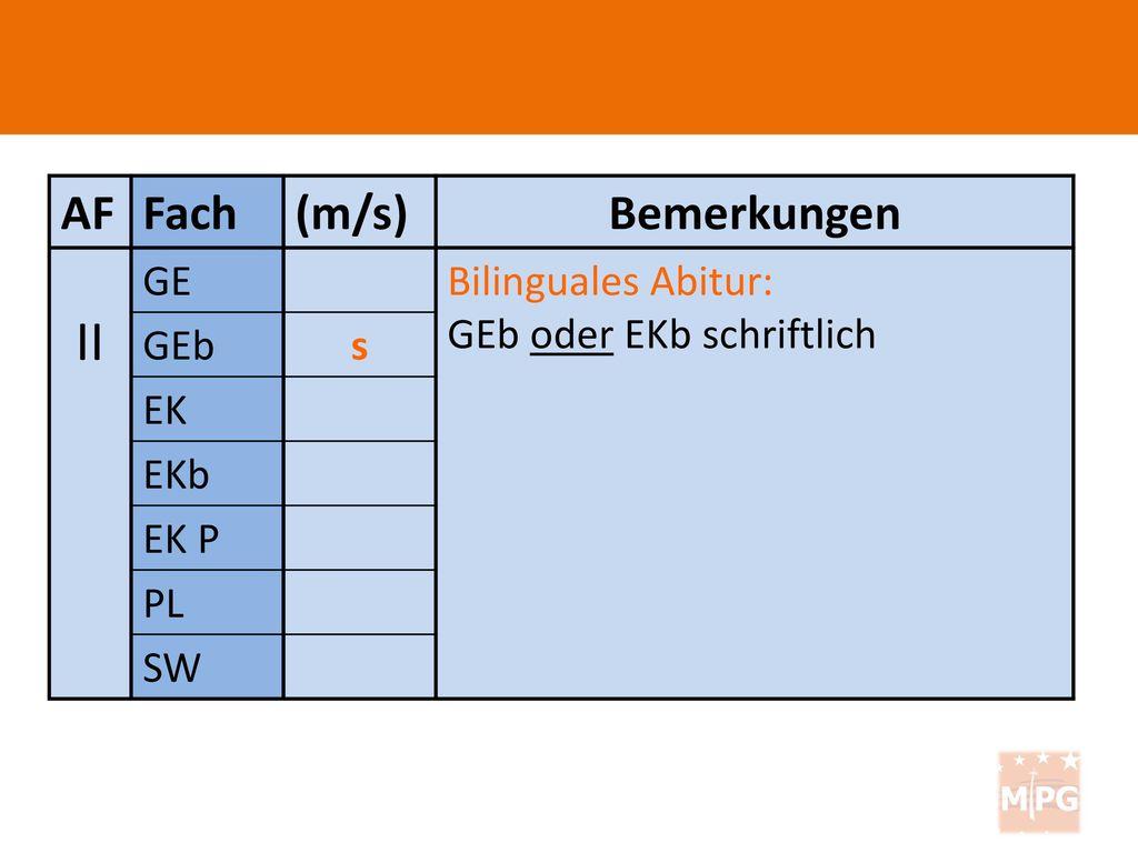 II AF Fach (m/s) Bemerkungen GE Bilinguales Abitur: