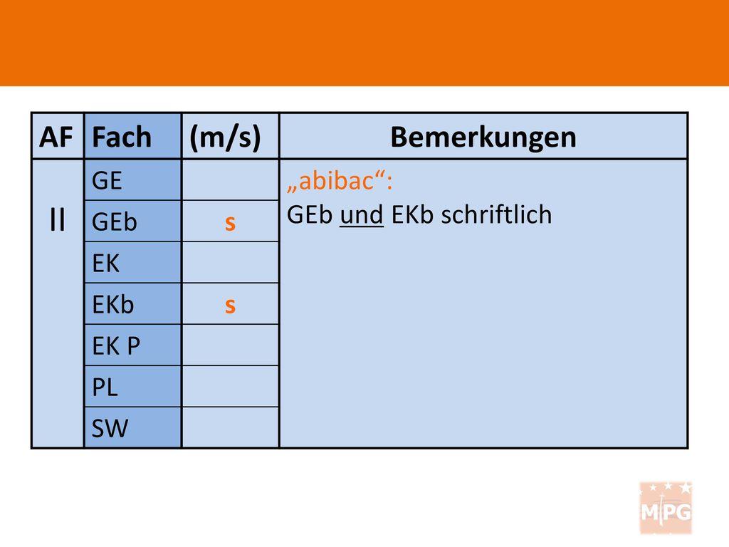 """II AF Fach (m/s) Bemerkungen GE """"abibac : GEb und EKb schriftlich GEb"""