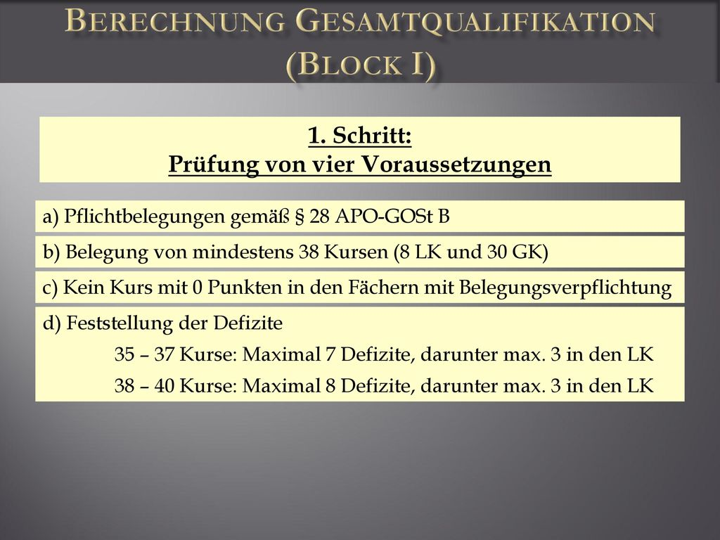 Berechnung Gesamtqualifikation (Block I)