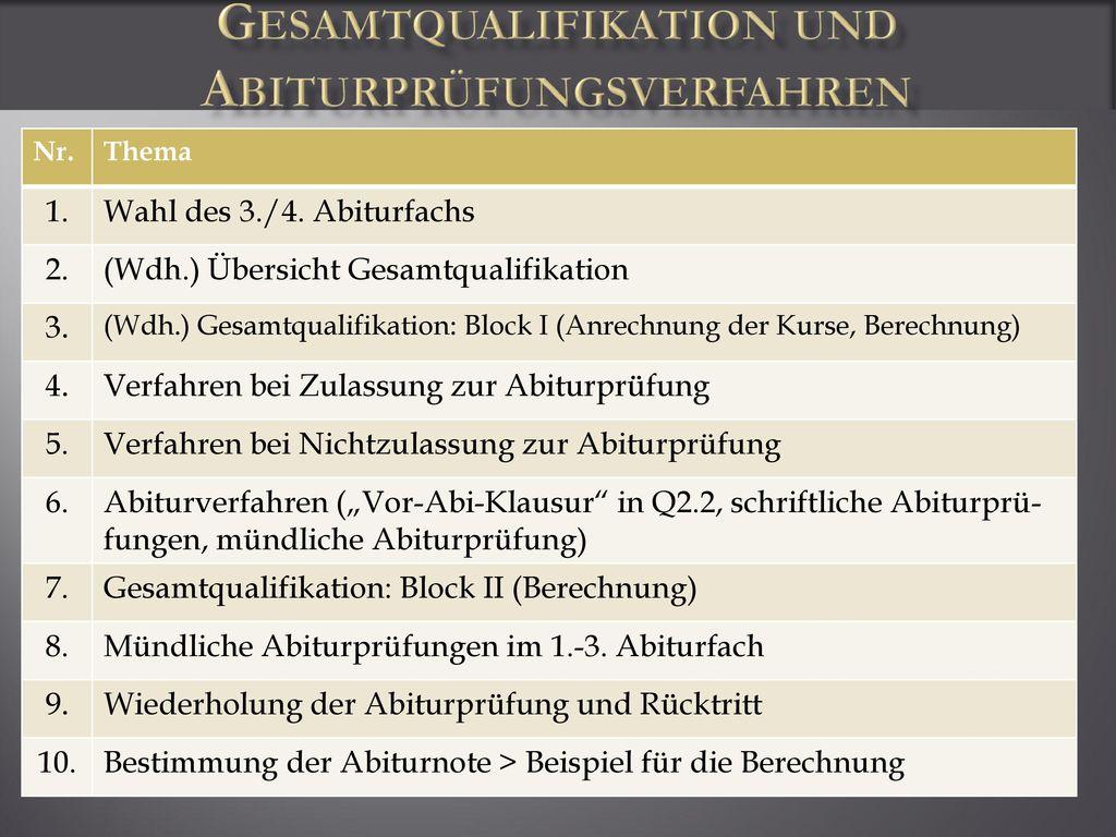 Gesamtqualifikation und Abiturprüfungsverfahren