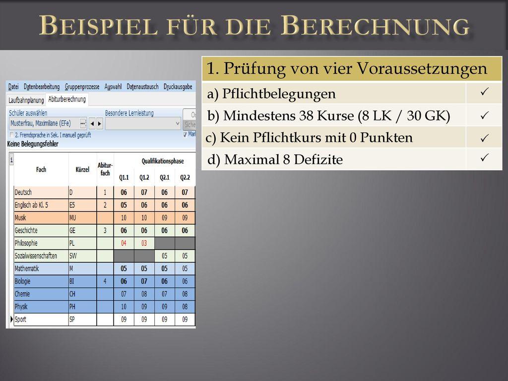 Beispiel für die Berechnung
